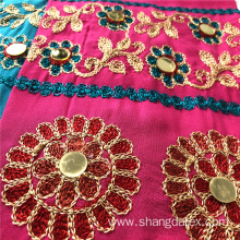 New Fashion Four Color Embroidery With Golden Spangle
